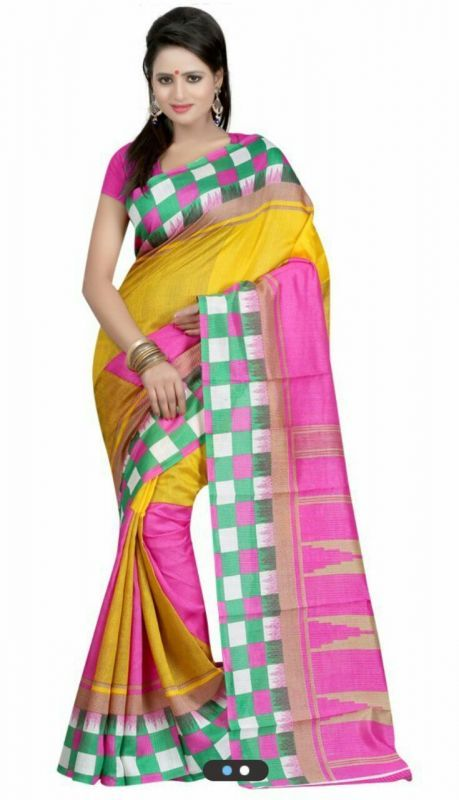 Buy 7n7 Bhagalpuri Saree Silk Printed (multi Color) 36 online