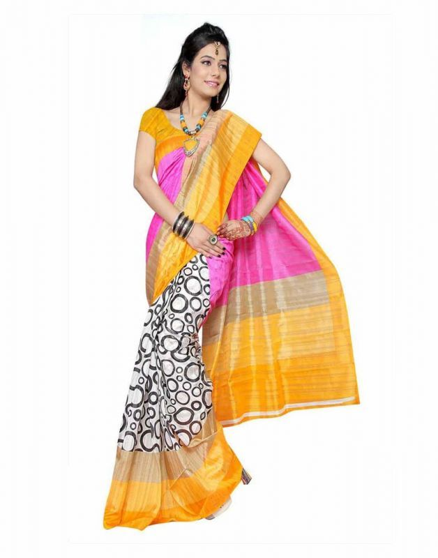 Buy 7n7 Bhagalpuri Saree Silk Printed (pink&orange) online
