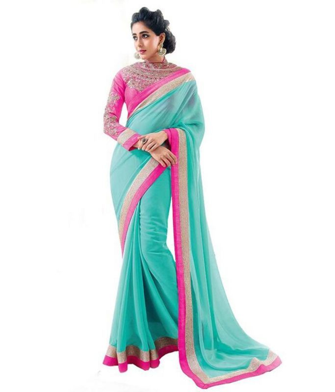 Buy Bollywood Replica Shoppingekart Embriodered Fashion Georgette Saree - (code -bhabhiji_blue) online