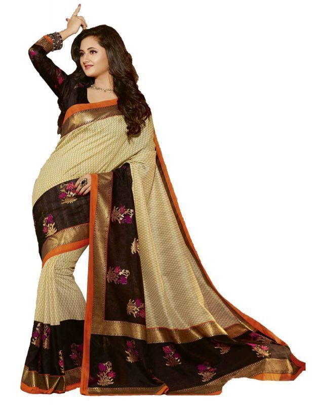 Buy Styloce Beige Color Art Silk Printed Casual Deasigner Saree With Blouse-(code-sty-8778) online