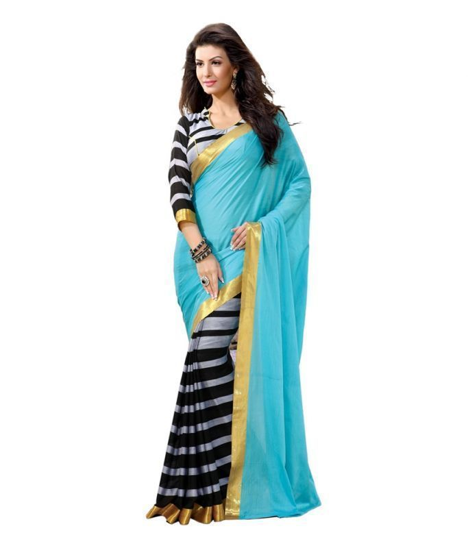 Buy Styloce Blue Color Art Silk Printed Casual Deasigner Saree With Blouse-(code-sty-8786) online