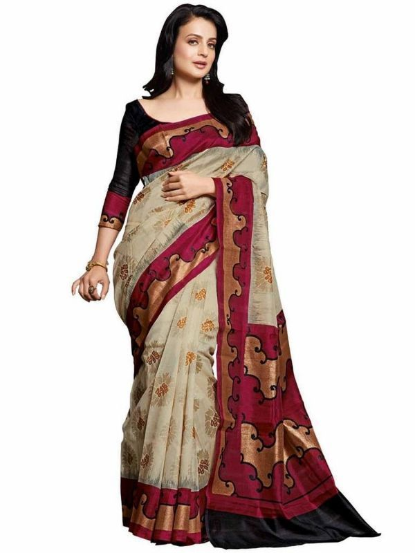 Buy Styloce Beige Color Art Silk Printed Casual Deasigner Saree With Blouse-(code-sty-8791) online
