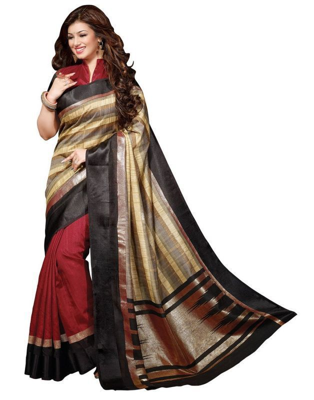 Buy Styloce Multi Color Art Silk Printed Casual Designer Saree With Blouse-(code-sty-8807) online