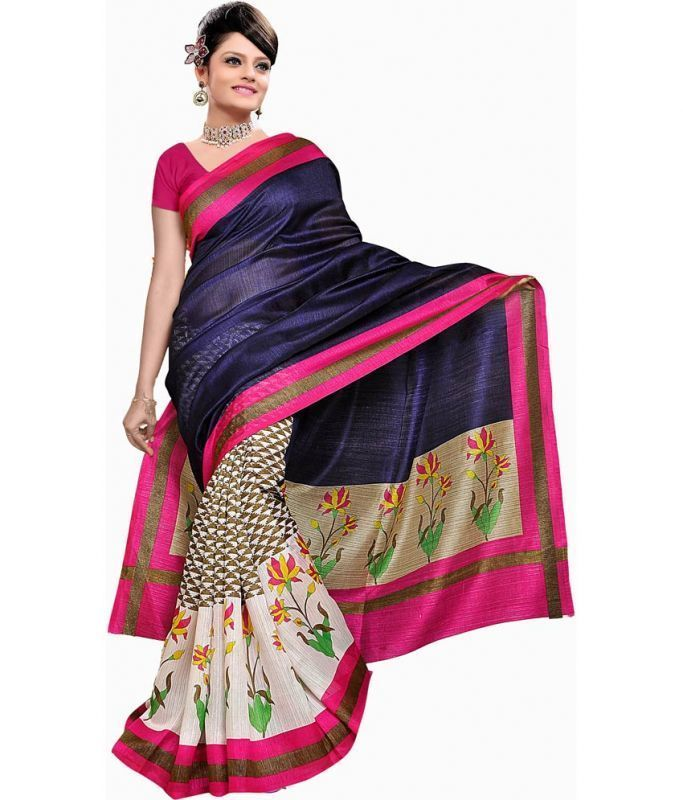 Buy Ramapir Fashion Navy Cream Printed Bhagalpuri Silk Saree Navy Bgl Saree online