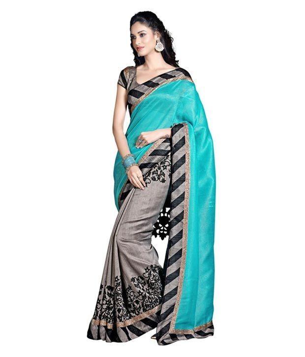 Buy Ramapir Fashion Rama Black Printed Bhagalpuri Silk Saree Rama Bgl Saree online
