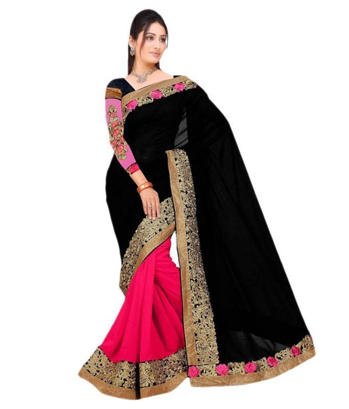 Buy Ramapir Fashion Black Pink Georgette Saree Divyanka online