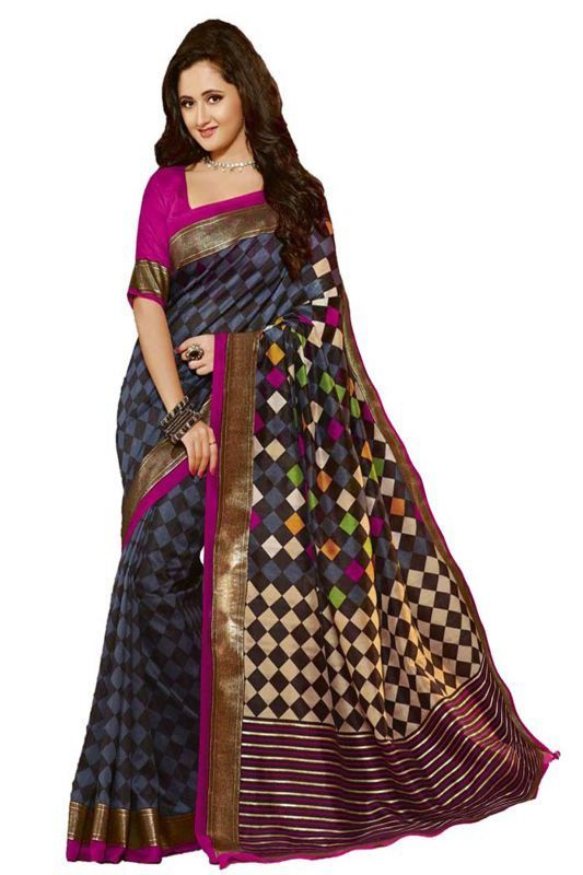 Buy Chigy Whigy Multicolor Bhagalpuri Silk Traditional Sarees With Blouse Piece (263c11119ss) online