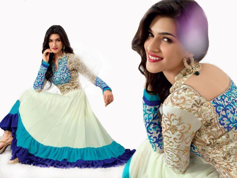 Buy Sky Blue Georgette Embroidered Designer Anarkali Suit online