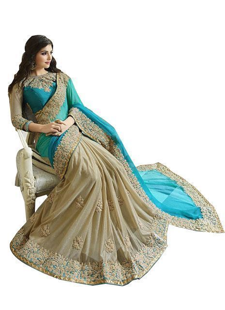 Buy Sarodiya Fabrics Cream Lighra Green Saree Hkv1 online