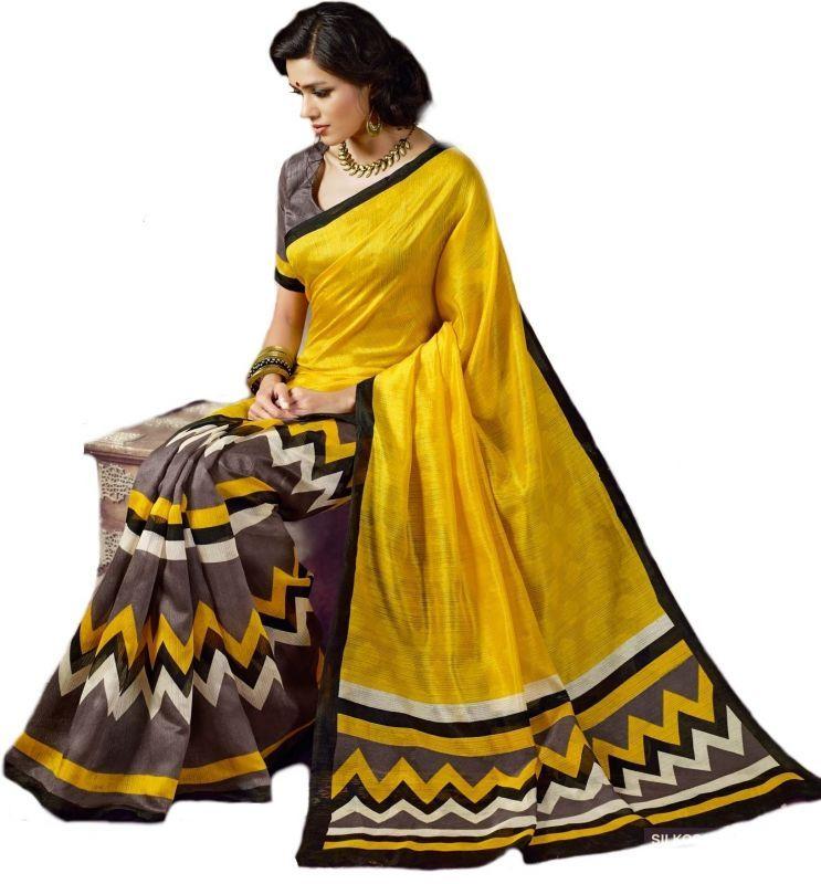 Buy Styloce Yellow Bhagalpuri Saree online
