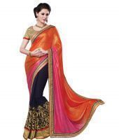 Buy Fabpandora New Fancy2d Bollywood Style Multicolor Saree With Blouse Piece online