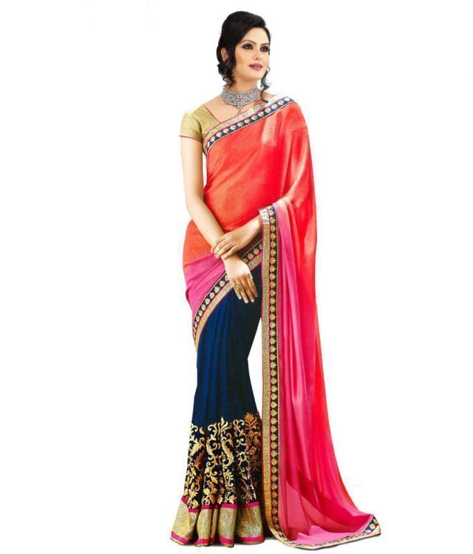 Buy Shree Plus Pink And Blue Embroidery Work Designer Saree online