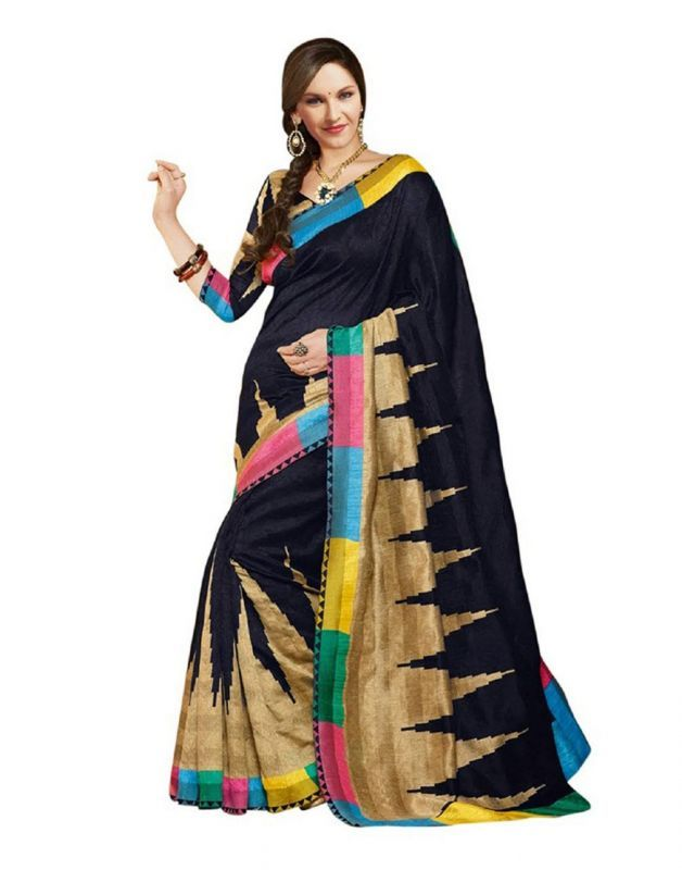 Buy 7n7 Bhagalpuri Saree Silk Printed (black) online