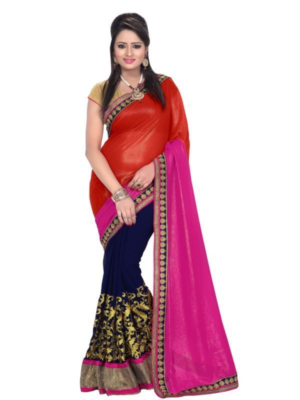 Buy Florence Red And Pink Chiffon Embriodered Saree online