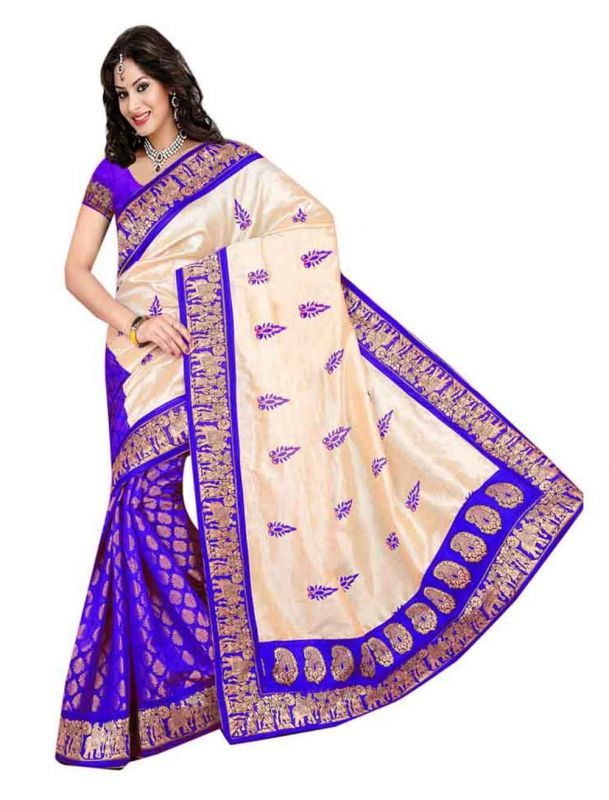 Buy Multi Retail Purple Bhagalpuri Party Wear Embroidery Saree With Unstitched Blouse-c13se380bi online