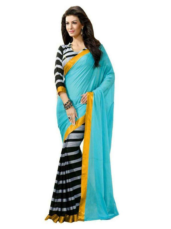 Buy Florence Sky Blue With Black Bhagalpuri Silk Printed Saree With Blouse online