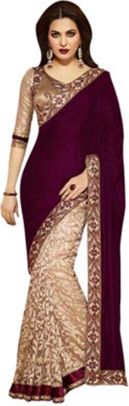 Buy Ramapir Fashion Red Cream Velvet Net Saree Red Velvet-270_velvet online