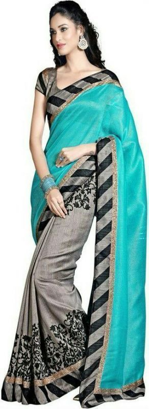 Buy Smt Grey Bhagalpuri Cotton Art Silk Saree online