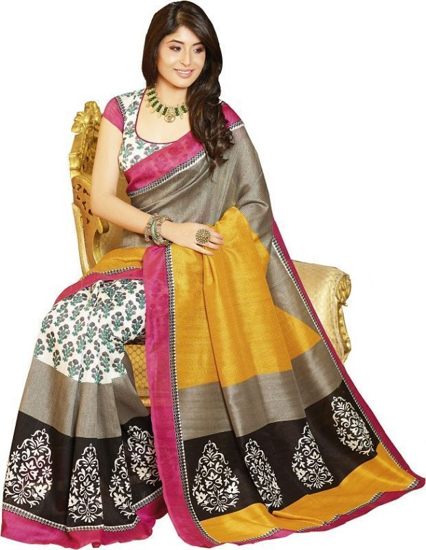 Buy Styloce Bhagalpuri Silk Printed Grey & Yellow Saree online
