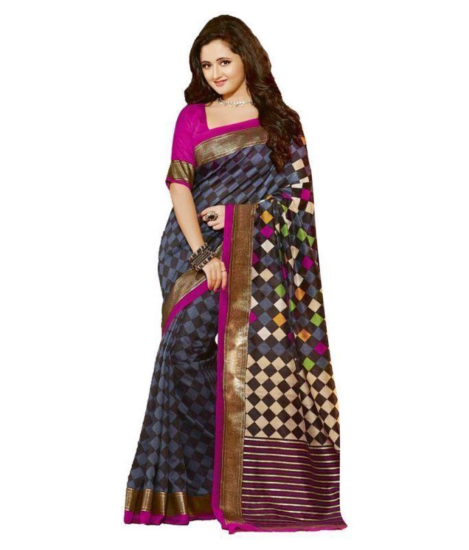 Buy Fancy Bhagalpuri Darkpink Printed Saree online