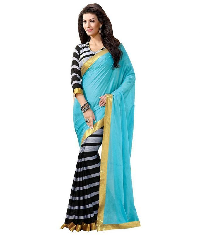 Buy Nilkanth Blue Printed Bhagalpuri Silk Printed Saree With Blouse - (product Code - Ssc005-blue) online