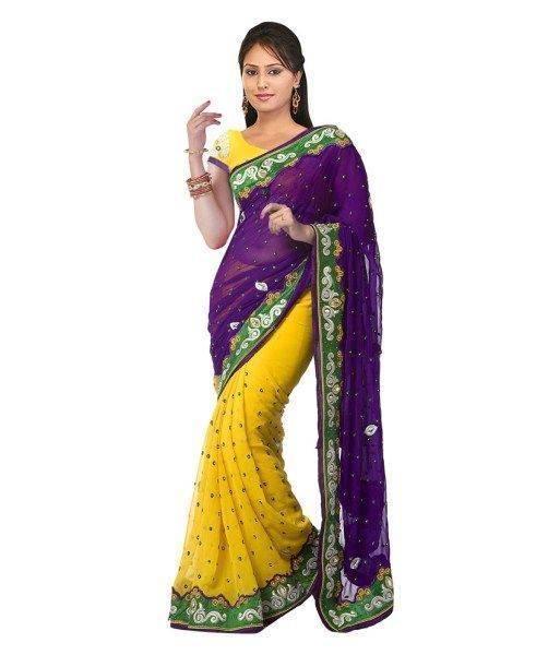Buy Ramapir Fashion Yellow Purple Chiffon Saree online
