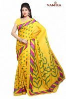 Buy Vamika Yellow Printed Bhagalpuri Saree online