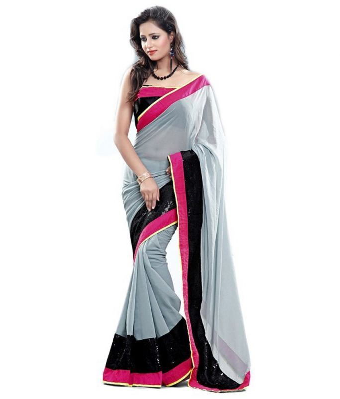 Buy Ramapir Fashion Grey Pink Black Georgette Saree Kajal Grey online