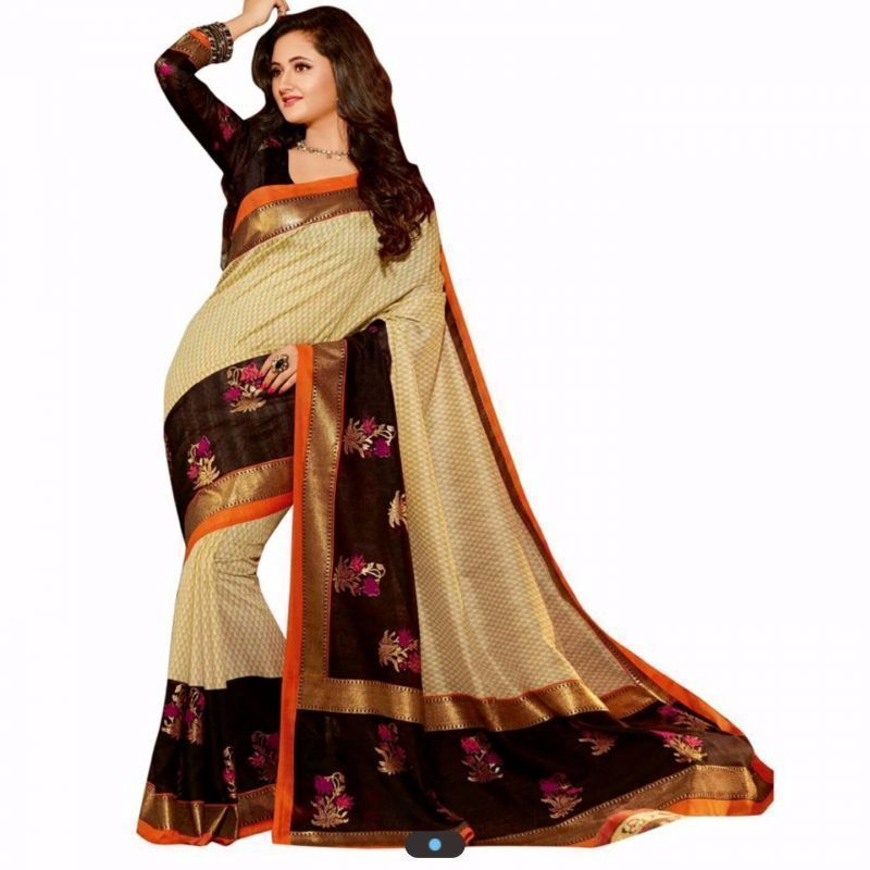 Buy Shubahm Cream And Black Designer Bhagalpuri Silk Saree online
