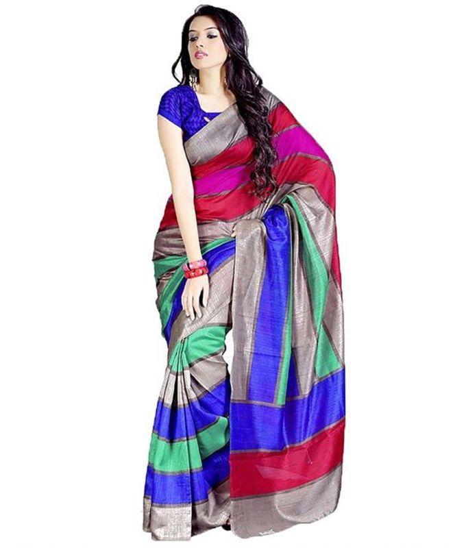 Buy Styloce Multi Color Bhagalpuri Saree online