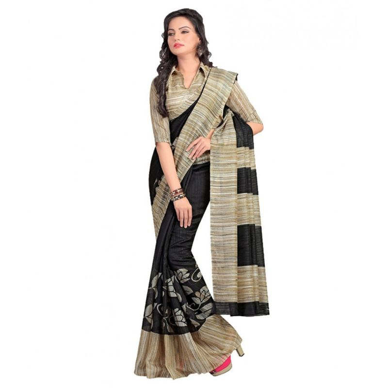 Buy Thankar Black & Cream Printed Bhagalpuri Saree Tds136-195 online