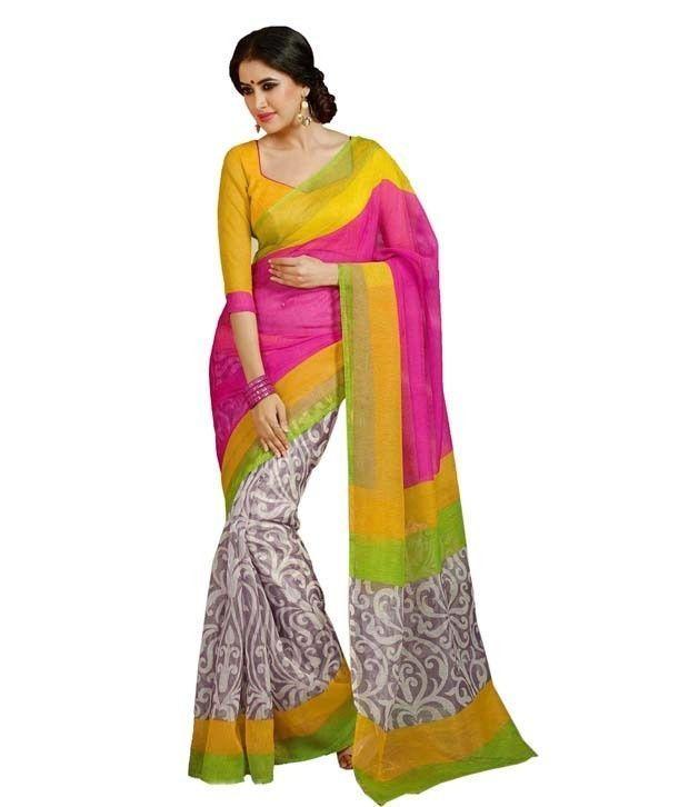 Buy Kazipu Women's Multicolour Bhagalpuri Silk Designer Saree With Blouse (code - Kfs1070) online