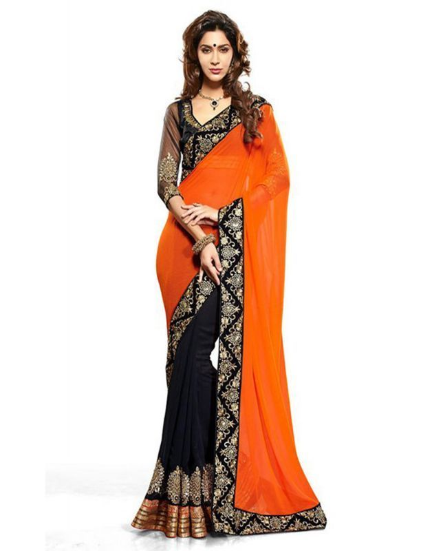 Buy Kalazone Orange Faux Georgette Party Wear Saree - (product Code - Wsv37280) online