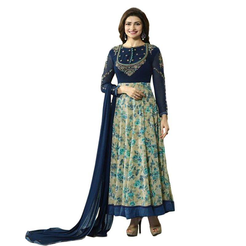 Buy Bollywood Replica Beautiful Prachi Desai Blue And Beige Hued Designer Anarkali Suit online