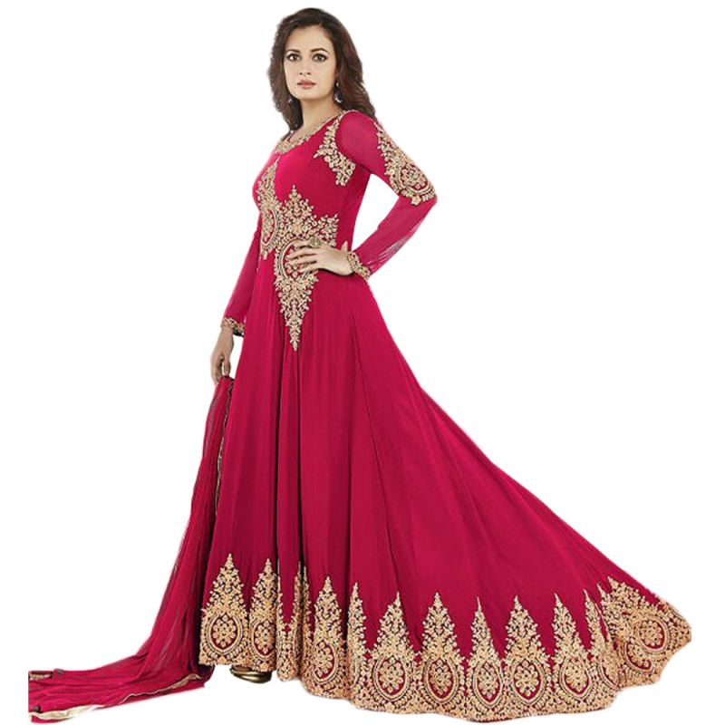 af04a56c1cb1 Buy Bollywood Replica Dia Mirza Pink Georgette Long Anarkali Suit online