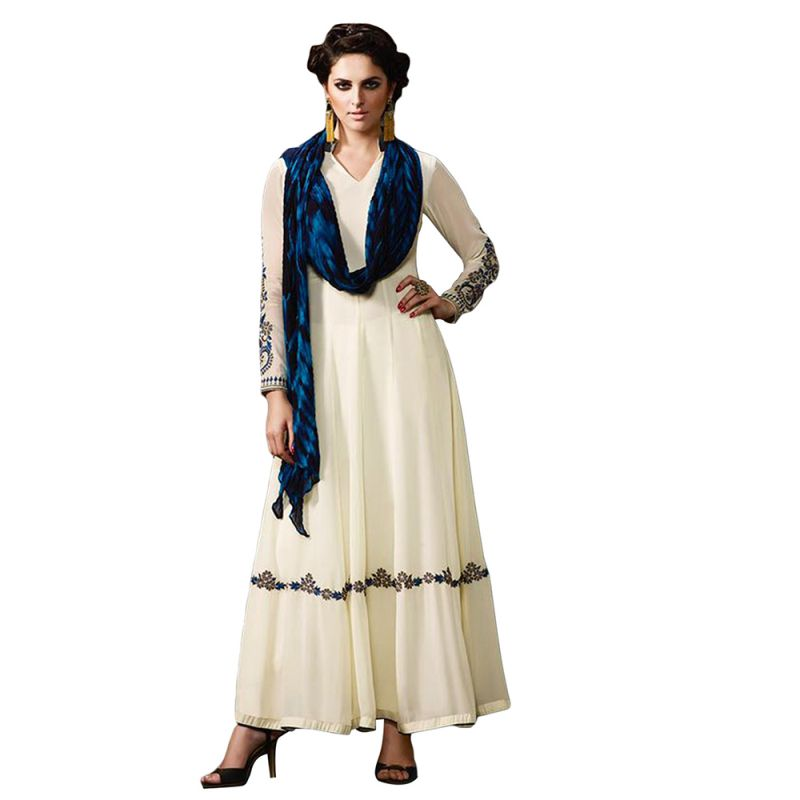 Buy Bollywood Replica White Long Lenght Anarkali Suit online