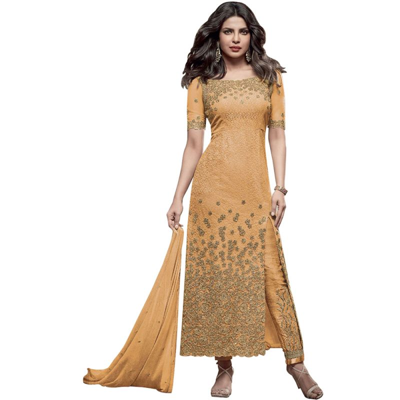 Buy Bollywood Replica Designer Very Attractive Priyanka Chopra Yellow Embroidered Straight Cut Salwar Kameez online