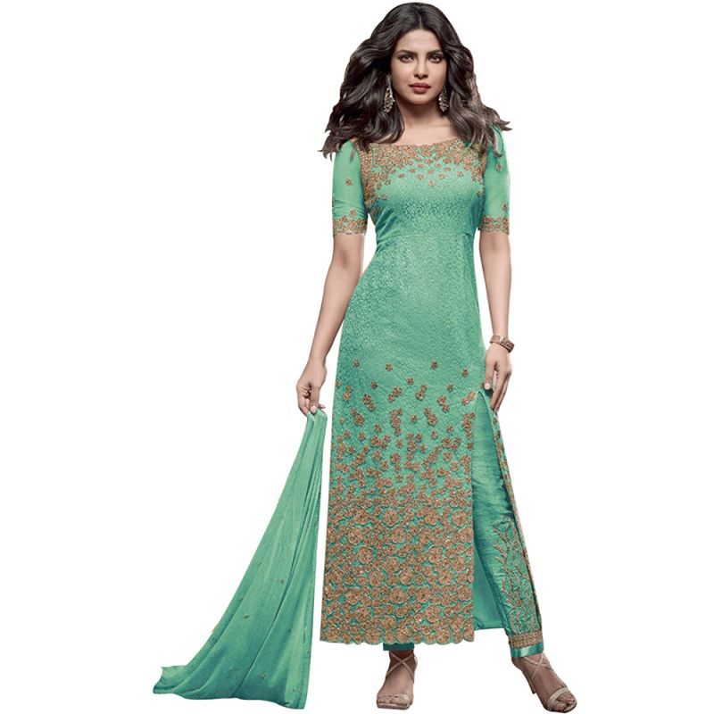 Buy Bollywood Replica Designer Very Attractive Priyanka Chopra Green Embroidered Straight Cut Salwar Kameez online