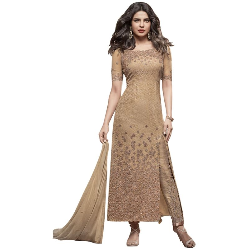 Buy Bollywood Replica Designer Very Attractive Priyanka Chopra Beige Embroidered Straight Cut Salwar Kameez online