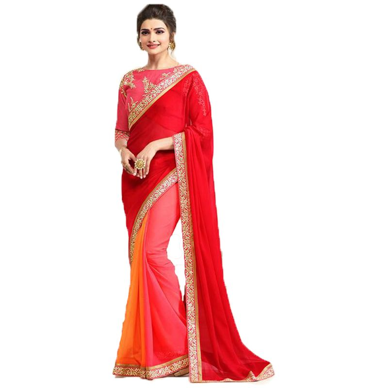 Buy Bollywood Replica Prachi Desai Georgette Border Work Red & Pink Plain Saree online