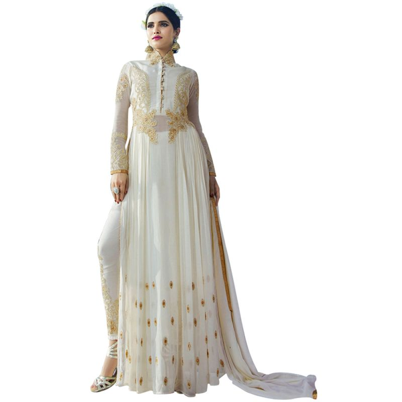 Buy Bollywood Replica Designer Long Cream Georgette Salwar Suit online