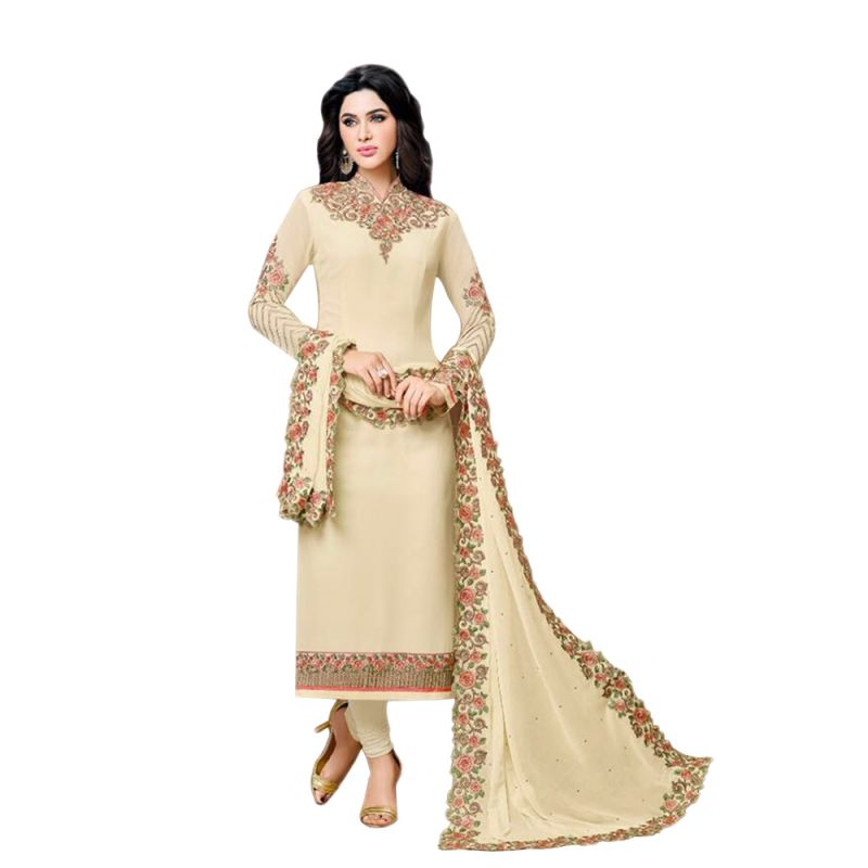 Buy Bollywood Replica Designer Very Attractive  Cream Colour Embroidered Straight Cut Salwar Kameez online