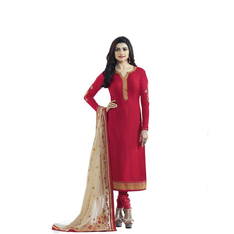 Buy Bollywood Replica Red Crepe Silk Beautifull Embroidered Salwar Suit With Havy Dupatta online
