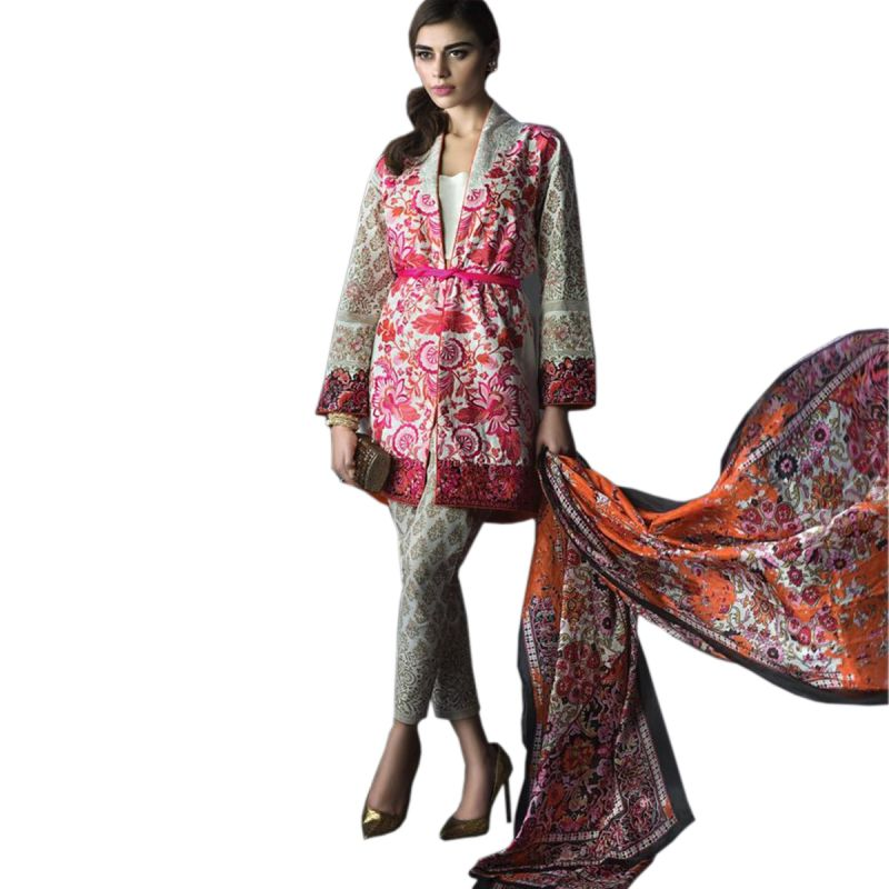 Buy Uac-by 99pockets Pink Pure Cotton Lawn Suit With Chiffon Dupatta-(product Code-kk025) online