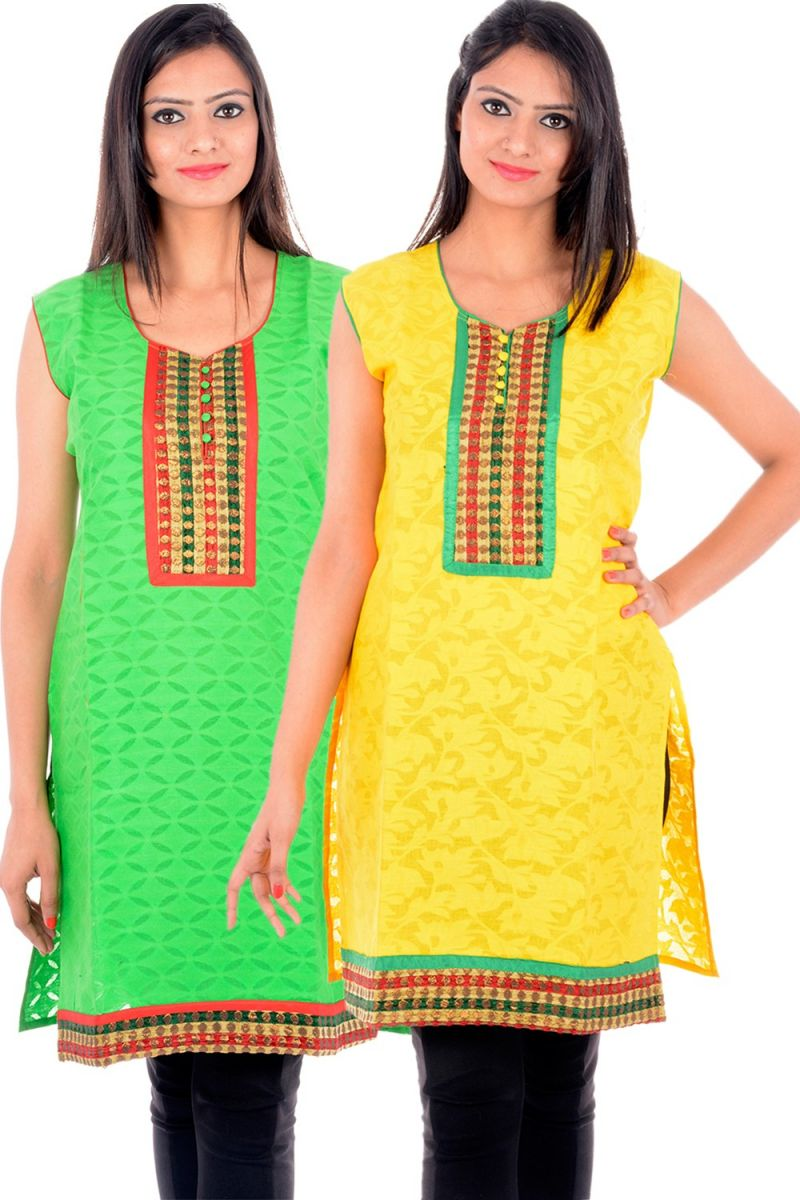 Buy Uac-by 99pockets Women's Cotton Yellow & Green Kurti (pack Of 2) (code - Kk131) online