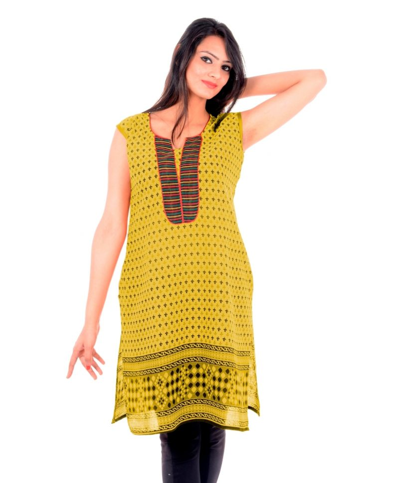 Buy Uac-by 99pockets Women's Cotton Green Kurti (code - Kk141) online
