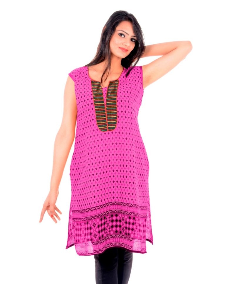 Buy Uac-by 99pockets Women's Cotton Pink Kurti (code - Kk142) online