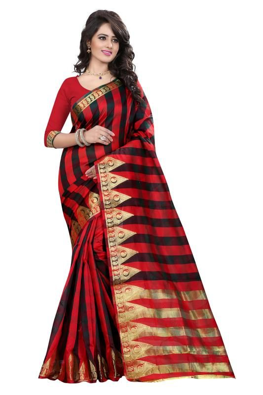 Buy Holyday Womens Banarasi Silk Thread Saree_ Red (with Blouse) online