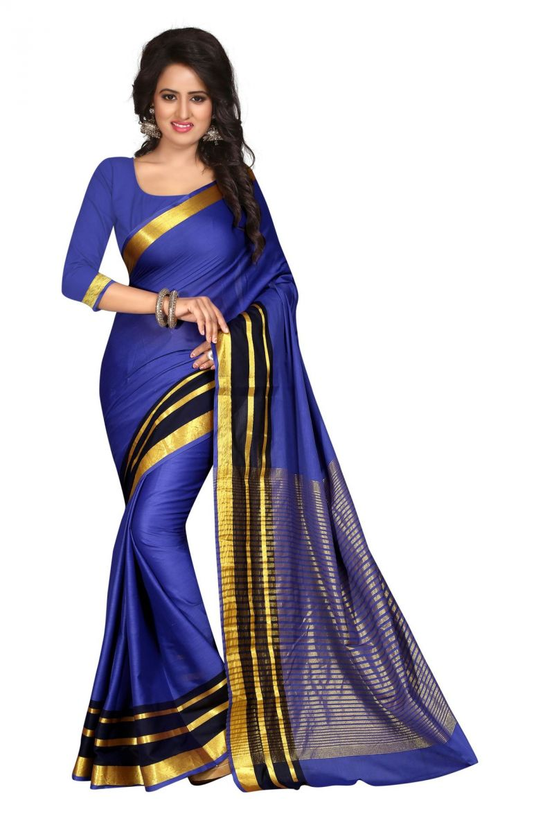 Buy Holyday Womens Silk Cotton Saree, Blue (sharma_aura_blue_plain) online