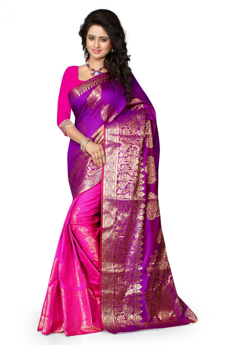 Buy Holyday Womens Cotton Saree, Pink (sharma_butterfly_pink) online